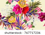 tropical seamless floral...   Shutterstock .eps vector #767717236