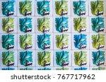 closeup azulejos panel as... | Shutterstock . vector #767717962