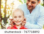 father and daughter walk... | Shutterstock . vector #767718892