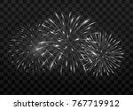 beautiful fireworks. isolated... | Shutterstock .eps vector #767719912