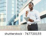 confident successful black... | Shutterstock . vector #767720155
