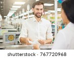 man buying food products in the ... | Shutterstock . vector #767720968