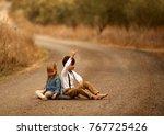 retro photo of two children on...   Shutterstock . vector #767725426