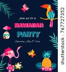 bright invitation card with... | Shutterstock .eps vector #767727352