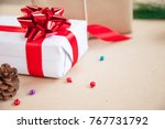 gift box have bind from red... | Shutterstock . vector #767731792