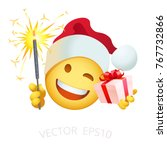santa claus smiley holds a... | Shutterstock .eps vector #767732866
