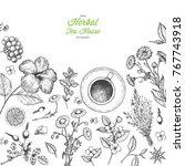 herbal tea shop vector... | Shutterstock .eps vector #767743918