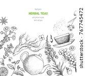 herbal tea shop vector... | Shutterstock .eps vector #767745472