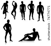 nude male silhouettes.vector | Shutterstock .eps vector #76774771