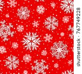 beautiful red winter seamless... | Shutterstock .eps vector #767749228