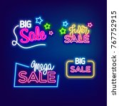 mega big sale neon banner. cafe ... | Shutterstock .eps vector #767752915