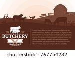 vector butcher shop... | Shutterstock .eps vector #767754232