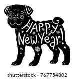black vector pug silhouette... | Shutterstock .eps vector #767754802