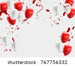 red white balloons  confetti... | Shutterstock .eps vector #767756332