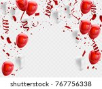 red white balloons  confetti... | Shutterstock .eps vector #767756338