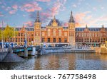 amsterdam central train station ...   Shutterstock . vector #767758498