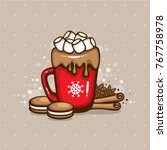 spicy hot chocolate. red cup of ... | Shutterstock .eps vector #767758978