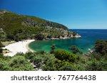 beautiful lagoon at thassos... | Shutterstock . vector #767764438