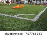 soccer ball tactics on grass... | Shutterstock . vector #767765152