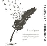 writing old feather with flying ... | Shutterstock .eps vector #767765458