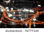 Bangkok Expressway and Highway, aerial view at night, Thailand - stock photo