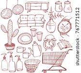 set of interior goods. hand...   Shutterstock .eps vector #767771512