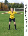 angry male soccer referee... | Shutterstock . vector #767773696