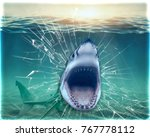 shark coming out of the wall.... | Shutterstock . vector #767778112