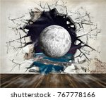 hole in the wall  out into... | Shutterstock . vector #767778166
