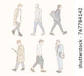 boy characters walking down the ... | Shutterstock .eps vector #767784142