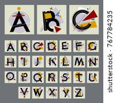 set of alphabet with capital... | Shutterstock .eps vector #767784235