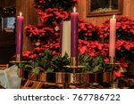 advent candles in a church with ... | Shutterstock . vector #767786722