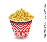 popcorn in red and white... | Shutterstock . vector #767789086