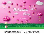 paper art of happy valentine... | Shutterstock .eps vector #767801926