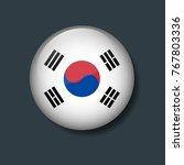 south korea flag on 3d button ...