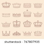 set of crown illustrations | Shutterstock .eps vector #767807935