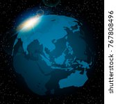 dawn from space. dawn from... | Shutterstock .eps vector #767808496