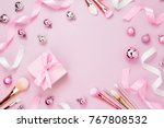 frame with christmas ball  gift ... | Shutterstock . vector #767808532