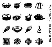 japan food icons set. simple... | Shutterstock .eps vector #767817172
