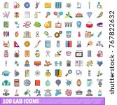 100 lab icons set cartoon