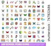 100 school years icons set.... | Shutterstock .eps vector #767822686