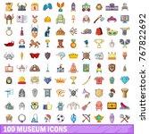 100 museum icons set. cartoon... | Shutterstock .eps vector #767822692