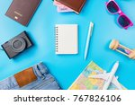 travel planning accessories ... | Shutterstock . vector #767826106