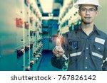 double exposure of  engineer or ... | Shutterstock . vector #767826142
