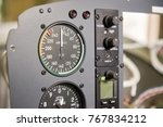 Small photo of Aircraft dashboard macro. Airplane speedometer close up. Airspeed limits and flight safety.
