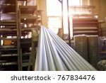 long metal tubes. long metal...   Shutterstock . vector #767834476