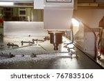 cnc machine drilling metal....   Shutterstock . vector #767835106