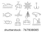 fishing line icons set on white ... | Shutterstock .eps vector #767838085