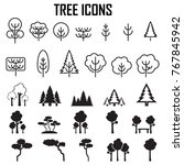 trees icons set vector.... | Shutterstock .eps vector #767845942