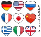 Flags In Heart Shapes  Eps10...